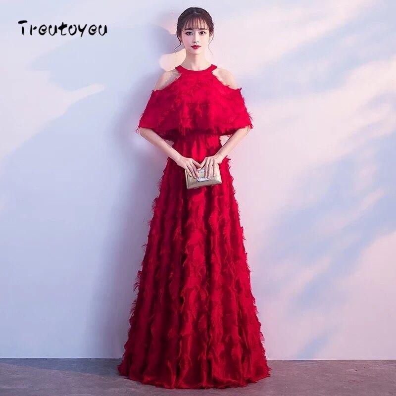 f96eebe28858 € 56.65 30% de DESCUENTO|Treutoyeu 2018 largo invierno vestido mujeres ropa  rojo sólido vestidos noche Partido de la manera Halter piso longitud ...