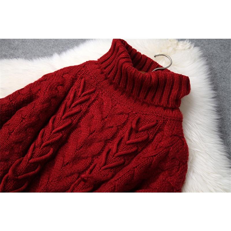 Ensemble Tenues D'hiver Tulle Jupe Twinset Pièces Rouge Lâche Dames Femelle rose Roulé 2018 Costume Hiver Pull Col Deux Automne Casual Chandail qIdUwOa