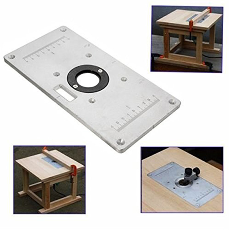235*120*8mm Aluminum Router Table Insert Plate Wood Router Trimmer For Woodworking Benches with 4 Insert Rings Engrving Machine aluminum router table insert plate diy woodworking benches for popular router trimmers models engrving machine mayitr