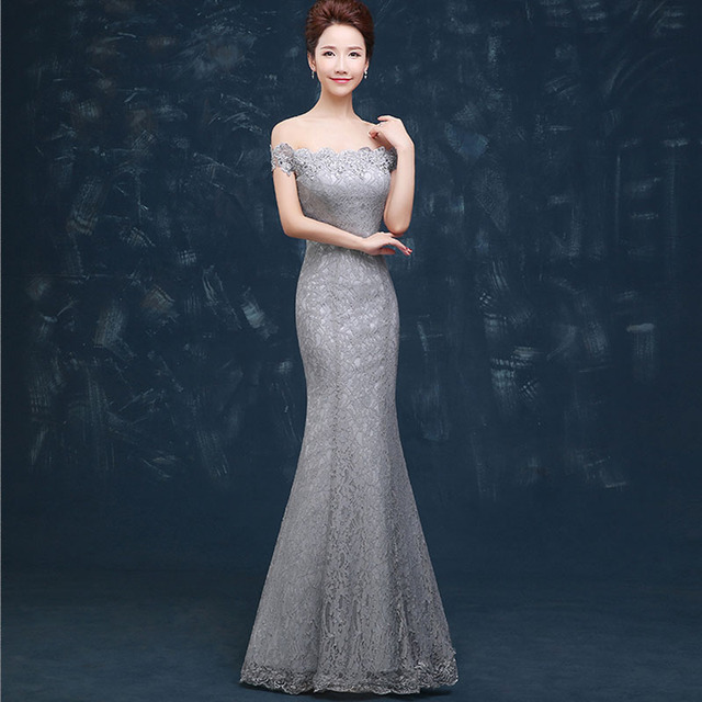 Modest Long Evening Dresses Mermaid Gray Lace Evening Gowns Off-Shoulder  Boat-Neck Embroidery Crystal Party Dresses Lace-up adb1a0df0bf5