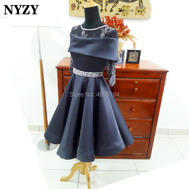 NYZY C128 Navy Blue Satin 3/4 Sleeve Robe Cocktail Dress Party Graduation Evening Elegant Vestido Coctel 2019 Abiti Da Cerimonia
