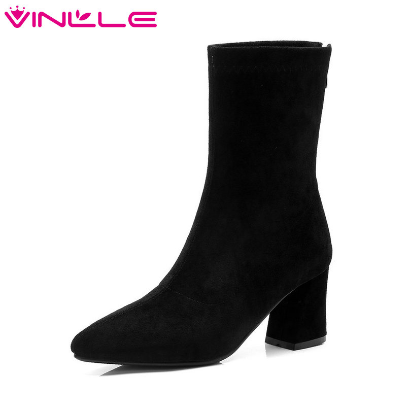 VINLLE 2019 Women Sock Boots Zipper Kid Suede Women Mid
