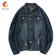 2017 Spring Navy Blue Denim Jacket Men Clothing Jeans Coat Men Casual Jacket Outwear with Turn-down Collar Cotton Thick Clothes