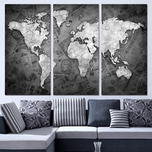 3 Piece Canvas Art World Map Black and White Home Decor Wall Painting Prints Pictures for Living Room Poster