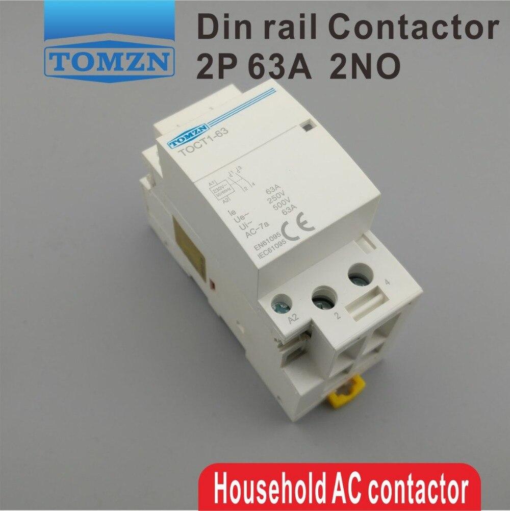 TOCT1 2P 63A 220V/230V 50/60HZ Din rail Household ac Modular contactor 2NO toct1 2p 16a 220v 230v 50 60hz din rail household ac modular contactor 2no or 1no 1nc