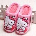 Дети Тапочки Дети Hello Kitty Домашние Тапочки для Девочек Рождественские Обувь Зимние Симпатичные Боути Тапочки Детский Дом Обуви