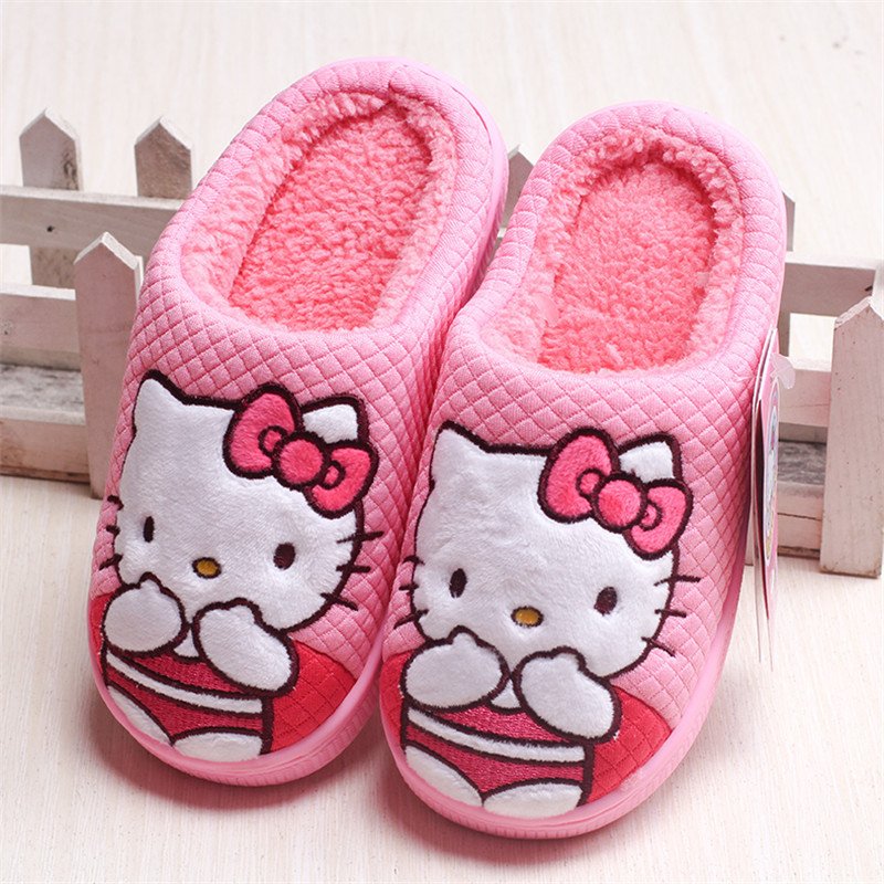 Maggie S Walker Children Slippers Kids Hello Kitty Home For Christmas Shoes Winter Cute Bowtie Bedroom