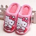 Niños Zapatillas Niños Hello Kitty Zapatillas de Casa Zapatos de Las Niñas de Navidad de Invierno Lindo Bowtie Zapatillas Niños Zapatos de la Casa
