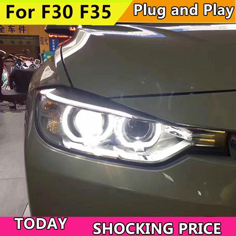 Автомобиль Стайлинг для BMW 316i 320i 328 335 F30 F35 фары 2013 2015 фар DRL Объектив Двойной Луч H7 ксеноновые bi Xenon объектива