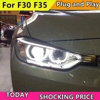 Car Styling for BMW 316i 320i 328 335 F30 F35 Headlights 2013 2015 Headlight DRL Lens Double Beam H7 HID Xenon bi xenon lens