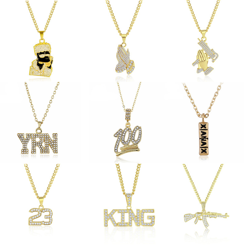 2019 Hip Hop Jewelry Women Men Gold Long Chain Necklaces Unisex Hiphop Bling Gun AK47 Letter Xanax Pill Pendant Necklace Gifts(China)