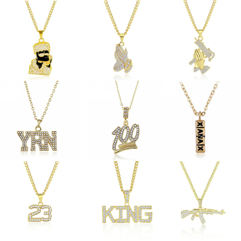 Gold Long Chain Necklaces Unisex Hip Hop Bling Necklace