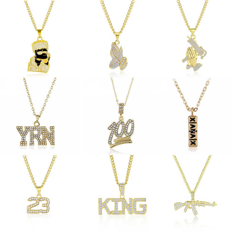 2019 Hip Hop Jewelry Women Men Gold Long Chain Necklaces Unisex Hiphop Bling Gun AK47 Letter Xanax Pill Pendant Necklace Gifts