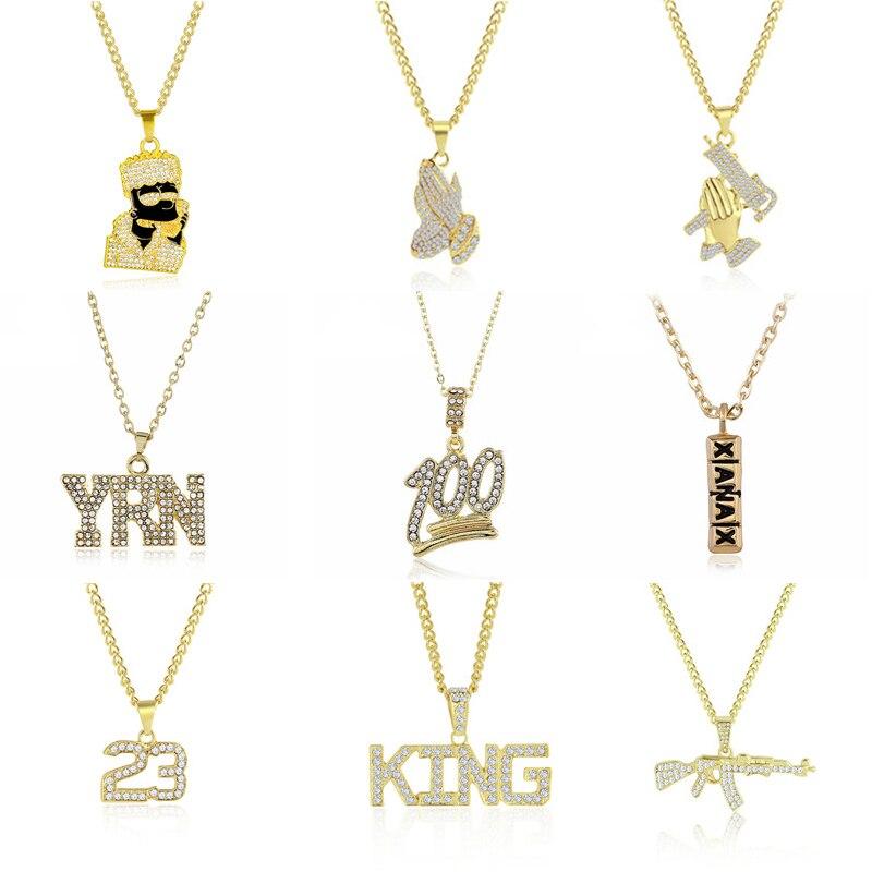 2019 היפ הופ תכשיטי נשים גברים זהב ארוך שרשרת שרשראות יוניסקס Hiphop בלינג אקדח AK47 מכתב גלולת קסנקס תליון שרשרת מתנות