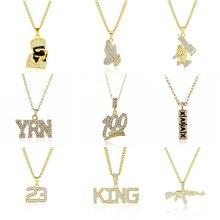 221614579349 2019 Hip Hop colgante collar de la joyería de los hombres Hiphop AK-47  carta Xanax píldora oro collares de cadena Unisex mujer h.