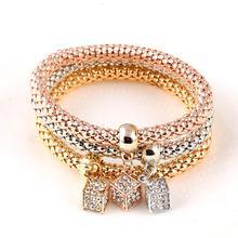 3Pcs Gold Color Heart Charm Elastic Bracelets For Women Pulseras Bracelet Cute Multilayer Bangles pulseira feminina Gifts