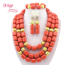 Nigerian Wedding African Coral Beads Jewelry Set African Costume Jewelry Sets Coral Beads Free Shipping W11635 2017 new design handmade coral beads statement necklace set nigerian wedding african beads lace jewelry set free shipping abk849