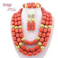 Nigerian Wedding African Coral Beads Jewelry Set African Costume Jewelry Sets Coral Beads Free Shipping W11635