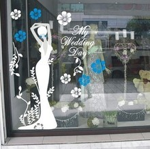 Sex girls lady wall stickers Clothes Shop Wedding glass decals Shopping Center  home decor