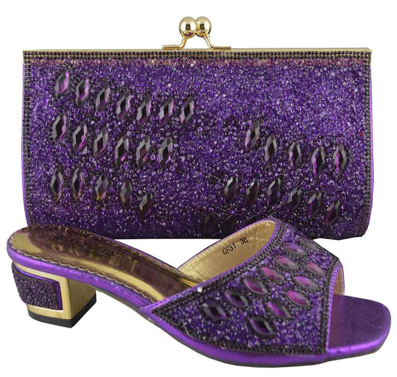 Purple Whole And Retail African Perfect Matching Shoes Bag Set Good Looking Fashion Dress