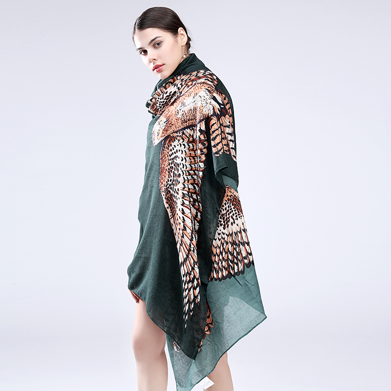 Marte&Joven Fashion Animal Printed Cape Women Personalized Big Owl Long Shawls And Scarfs Ladies Patchwork Pashmina