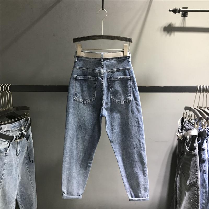bleu Jeans Lavé K476 Haute Mince Femelle Noir Pantalon Denim Grande Dame Femmes Européen Style Coton Ample Taille RwUBaaq