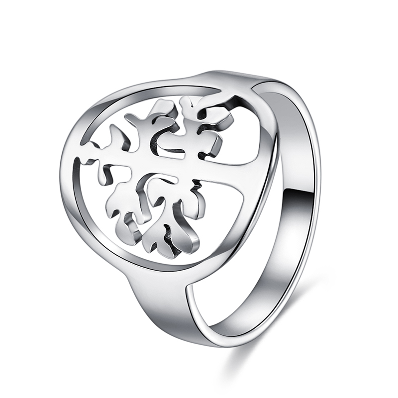 CACANA Titanium Stainless Steel Rings For Women With  Family Tree Fashion Jewelry Wholesale NO.R229