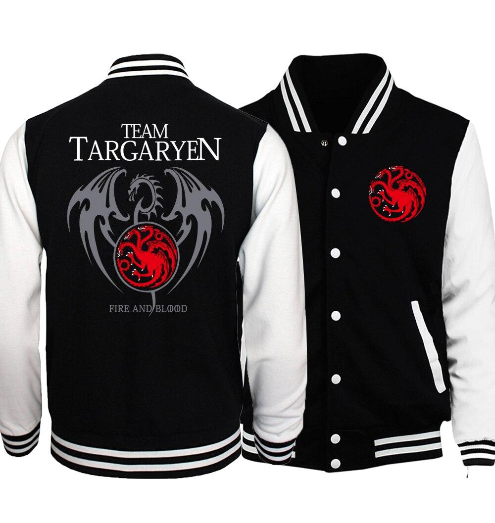New Bomber Jacket Game of Thrones Targaryen Fire & Blood Men Jacket 2019 Spring Baseball Jackets Coat For Men Hoody Tracksuits