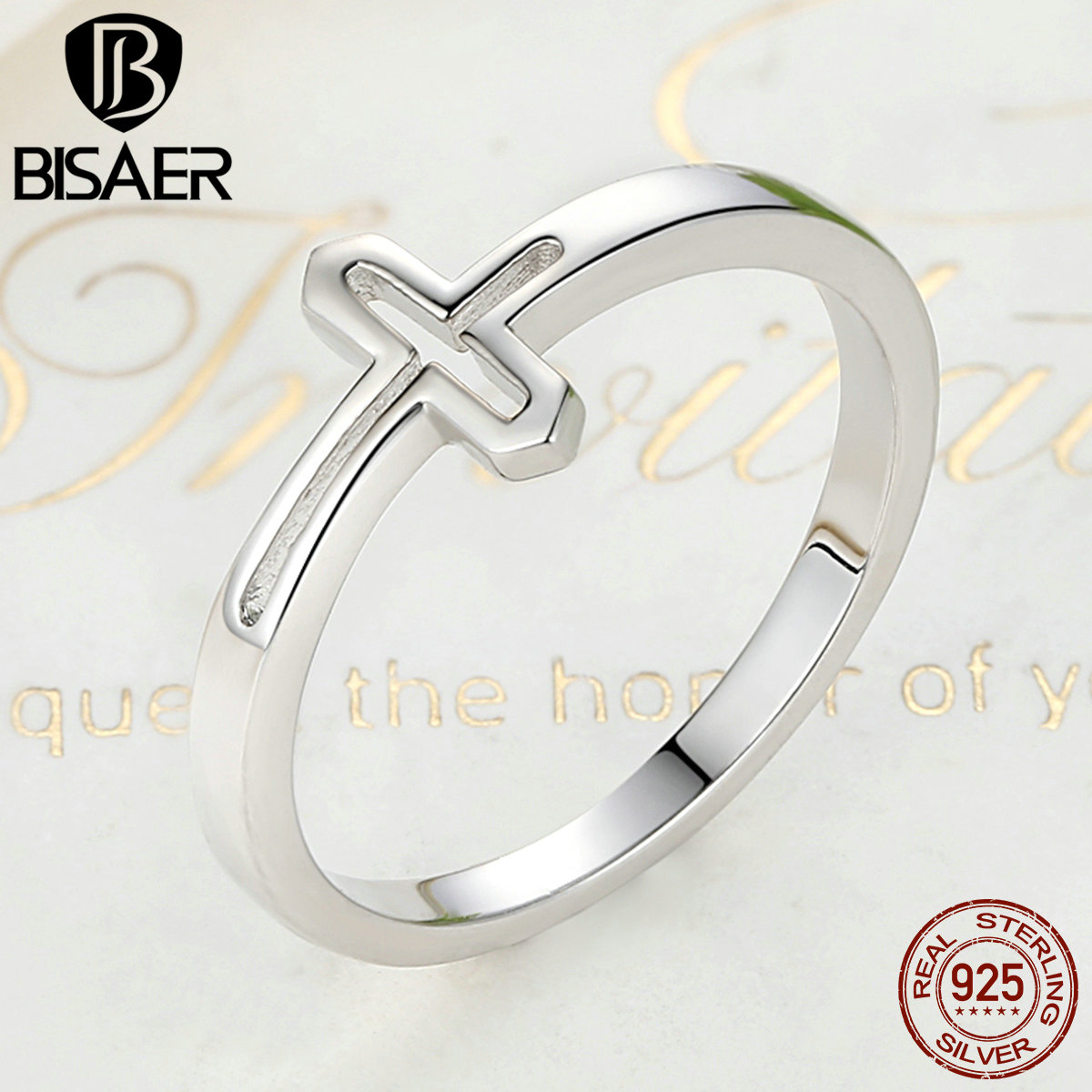 2017 New Real 100% 925 Sterling Silver Symbol Of Faith Cross Finger Rings for Women Fashion Jewelry HSR033