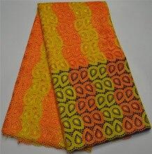 Großhandel abend lange kleider 100% polyester nigerianischen orange gelb stickerei guipure-spitze kleid afrikanische spitzegewebe mr460b-4