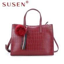 SUSEN 1244 women handle shoulder bag zipper closure tote bag top pu leather bright solid color bag for lady