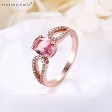 PHOEBEJEWEL Korean Style Rose Gold Women's Ring with Pink CZ Stone Wedding Valentine's Day Party Jewelry anel(China)