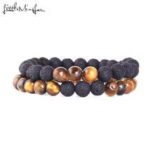Little MingLou 2pcs/set Black Volcanic Lava Stone Tiger Eye 8mm beads Men Bracelet yoga buddha bracelets & bangles for women