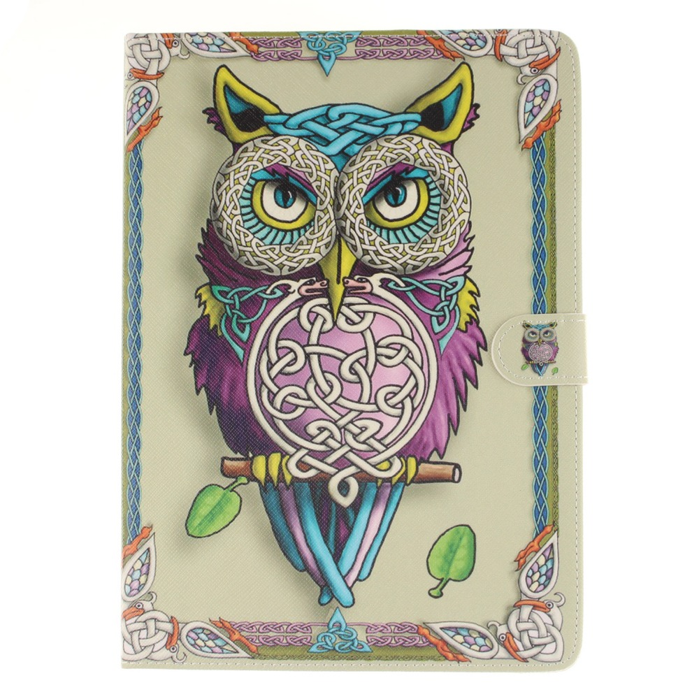 Sex Girl Tiger Owl Pu leather stand holder Cover Case For Samsung Galaxy Tab S2 9