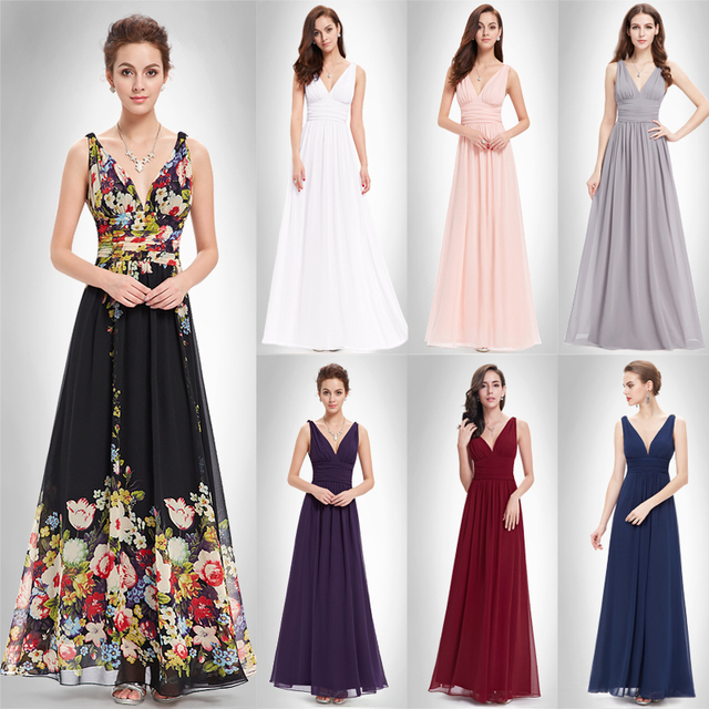 Burgundy Long Purple Bridesmaid Dresses Vestido Fast Shipping EP09016NB 2018 Women's Sexy Party Dress Chiffon A Line Gowns