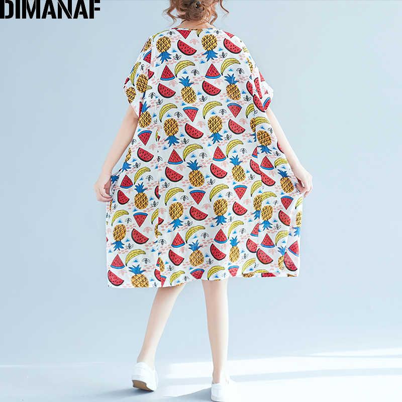 DIMANAF Для женщин пляжное платье Лето Плюс Размеры белье Kawaii фруктов женский Повседневное свободные праздничное платье с рукавами «летучая мышь» карманов Tops2018