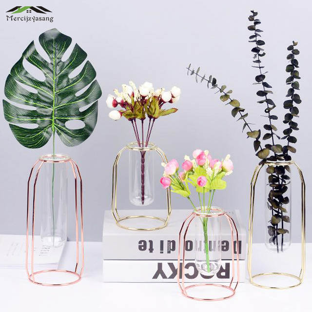 Online Shop Flowers Vases Table Centerpiece Wrought Iron Vase Glass