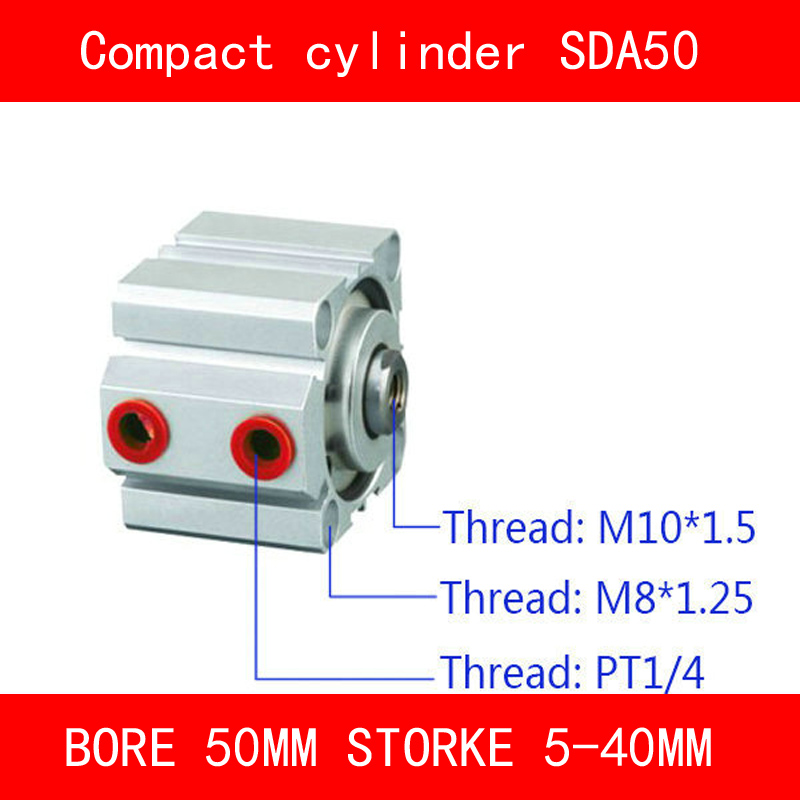 CE ISO SDA50 Cylinder SDA Series Bore 50mm Stroke 5-40mm Compact Air Cylinders Dual Action Air Pneumatic Cylinder mal 40mm bore 50mm stroke dual action mini air cylinder