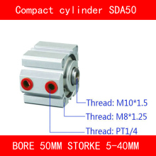 CE ISO SDA50 Cylinder SDA Series Bore 50mm Stroke 5-40mm Compact Air Cylinders Dual Action Air Pneumatic Cylinder sda100 5 b free shipping 100mm bore 5mm stroke external thread compact air cylinders dual action air pneumatic cylinder