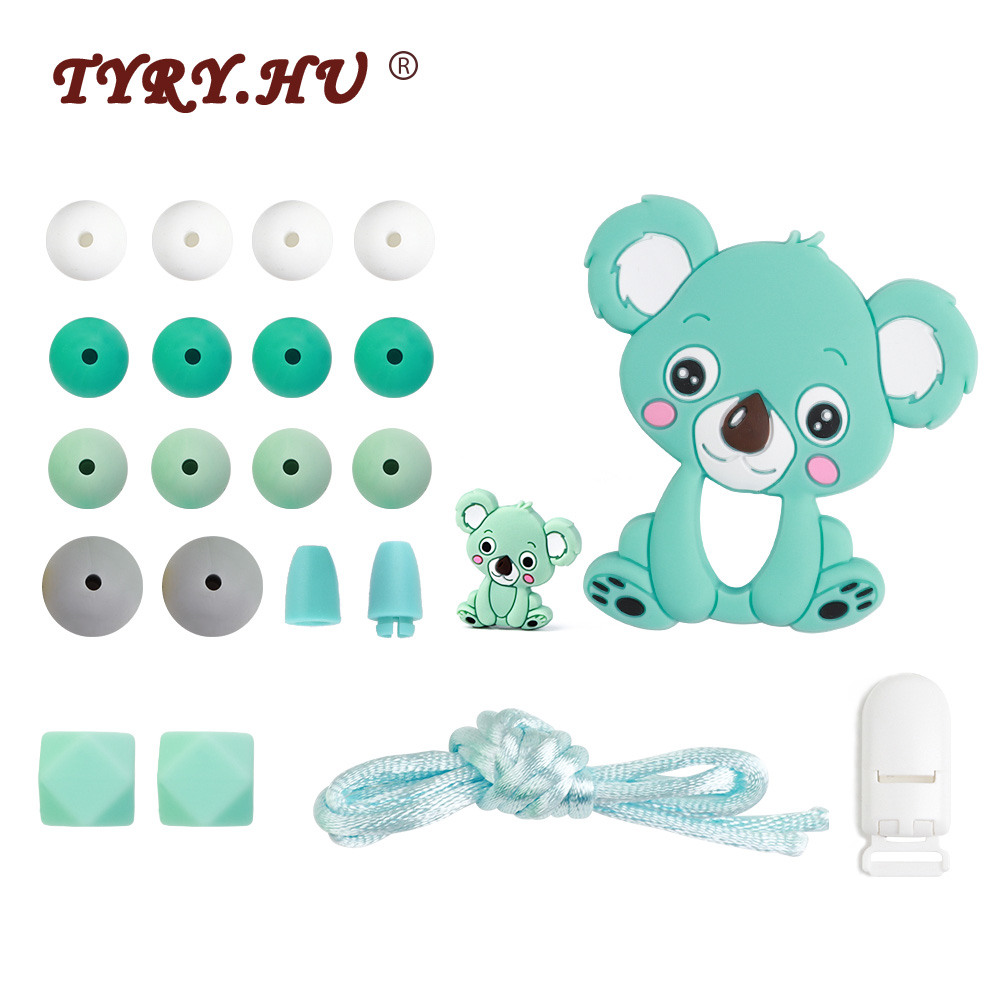TYRY.HU Baby Silicone Teether For DIY Baby Teething Necklace Toy Cartoon Koal Pacifier Chain Clip Food Grade Silicone Beads Set