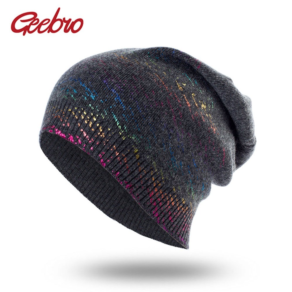 Geebro New Women's Bronzing Cashmere Beanies Hat Casual Spring Wool Knitted Hats Ladies Metal Multicolor Beanie Cap DQ416B