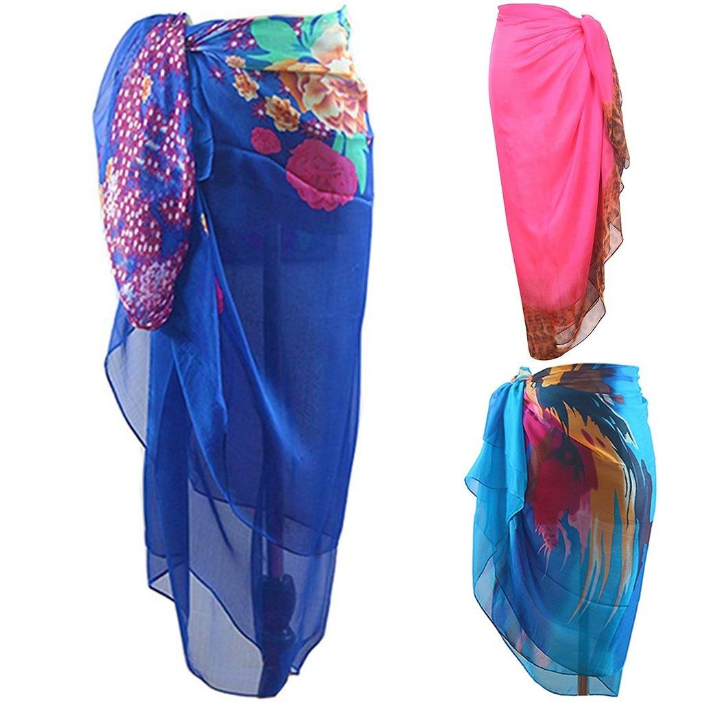 CHAMSGEND Women's Bohemian Printed Chiffon Comfortable Casual Fashion Elegant Loose Seaside Holiday Beach Skirt(China)