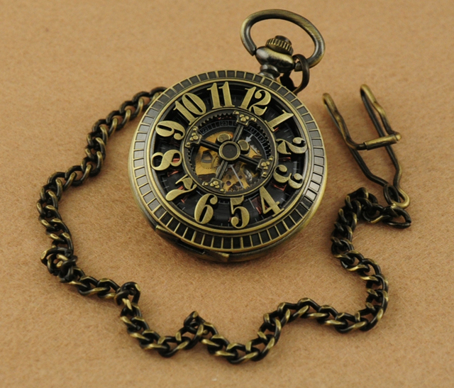 Retro Bronze Steel Dual Arabic & Roman Numerals Half Hunter Skeleton Mechanical Pocket Watch Steampunk FOB Watch With Chain