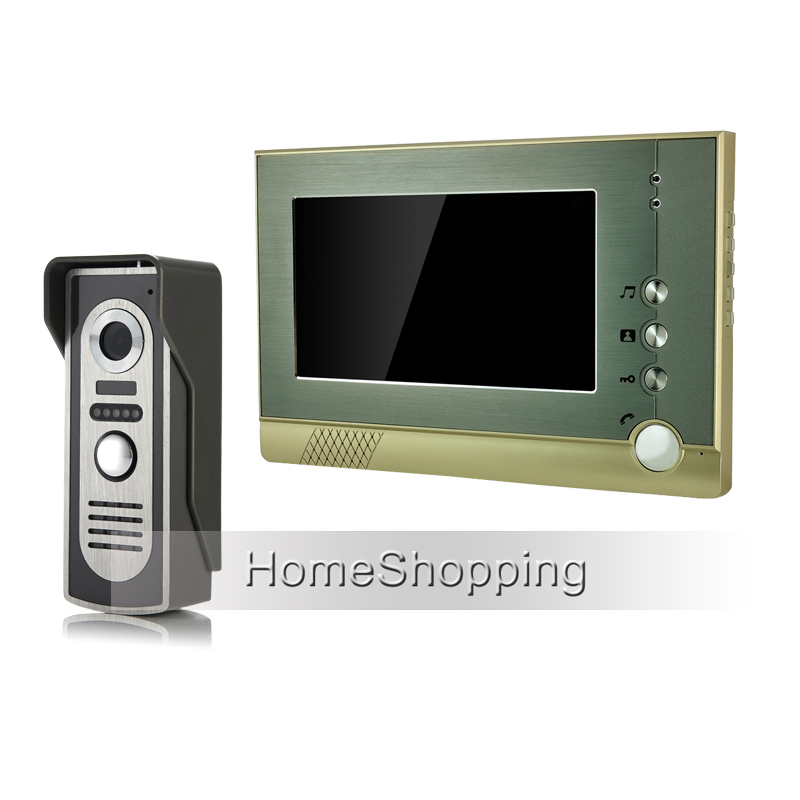 FREE SHIPPING New Wired 7 Color Screen Video Door phone Intercom Audio System + 1 Outdoor Doorbell Camera + 1 Monitor Wholesale brand new wired 7 inch color video intercom door phone set system 2 monitor 1 waterproof outdoor camera in stock free shipping