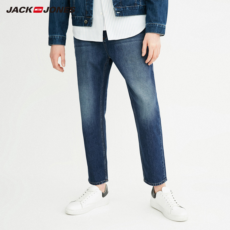 Jack Jones Spring Autumn New Men 100% Cotton  Straight Fit Washed Jeans Pants|218132550