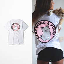 New Arrival Pink Cat Print T-Shirt Black Brand Women Fashion Hip Hop Style Cotton Tee Shirt Men Funny Luxury In Plus Size 4XL