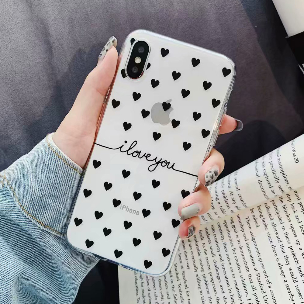 KIPX1078B_1_JONSNOW Clear Case For iPhone 6 6S 7 8 Plus XS XR XS Max Black White Heart Pattern Soft Silicone Protect Back Cover Capa Fundas