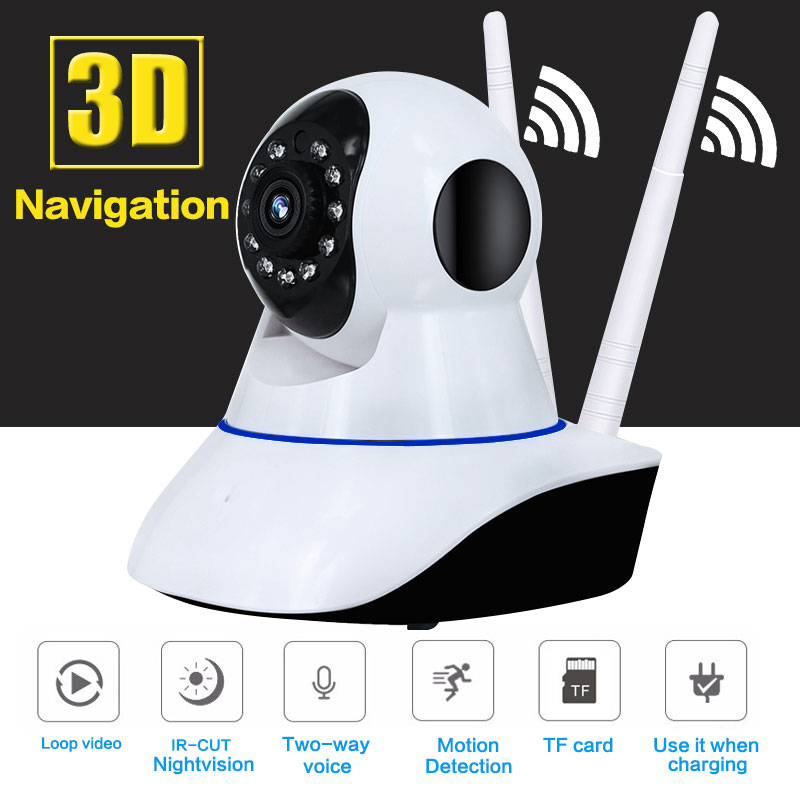 2MP HD 1080P PTZ Wifi IP Camera 360 Degree Fisheye IR-Cut Night Vision Two Way Audio CCTV Security Camera SD Card