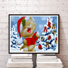Cute Christmas Cat Modern Home Decor Wall Picture DIY Digital Paint Living Room Cafe Bar Print Poster Number Canvas Oil Painting