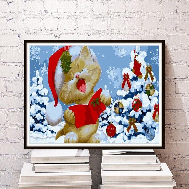 Cute Christmas Cat Modern Home Decor Wall Picture DIY Digital Paint Living Room Cafe Bar Print